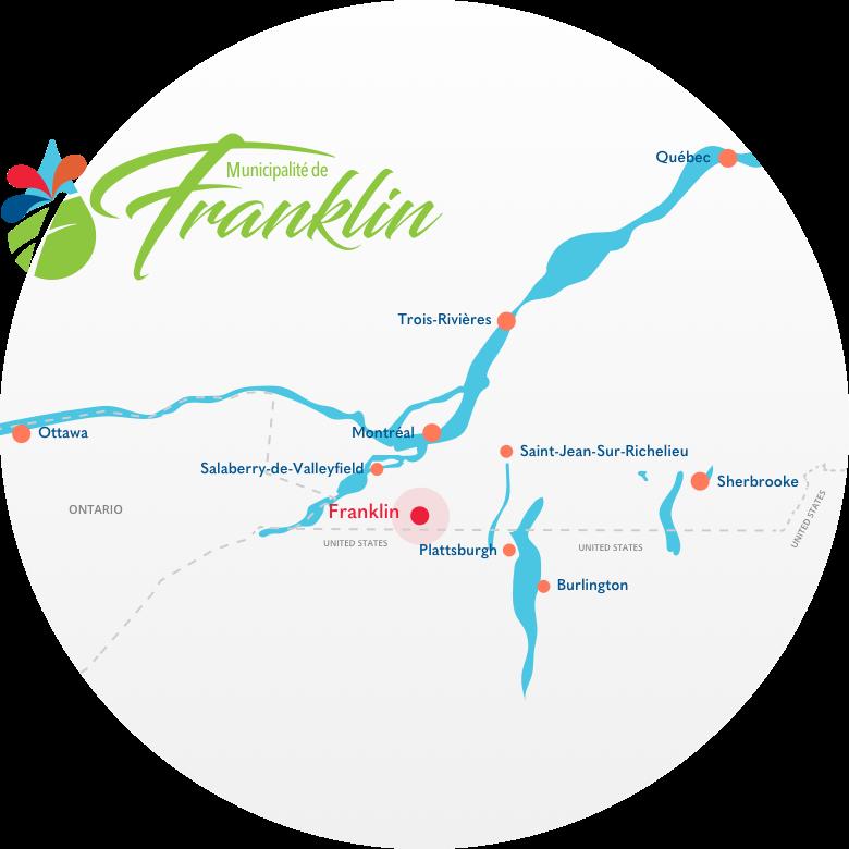 Une carte du sud du Québec marquant la municipalité de Franklin